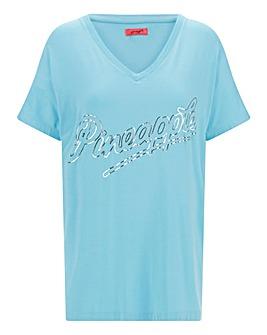 Pineapple V Neck Foil T-Shirt