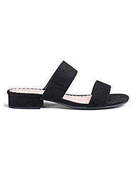 Flexi Sole Double Strap Mule Sandals Wide E Fit