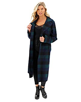 Helene Berman Check Wrap Longline Coat