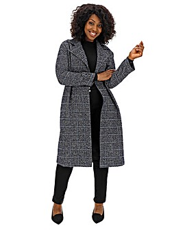 Helene Berman Navy Check Longline Coat