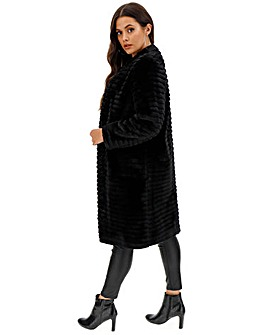 Helene Berman Black Textured Stripe Coat