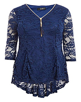 Quiz Curve Lace Zip Detail Blouse