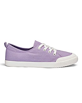 Heavenly Soles Canvas Lace Up Shoes Wide E Fit
