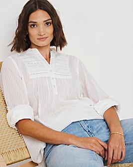 White Stripe Turn Back Sleeve Yoke Detail Shirt