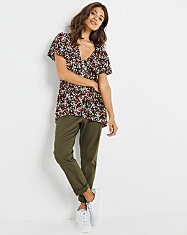 Red Ditsy Floral Crinkle Button Through Top