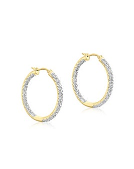 9Ct Gold Diamond Hoop Earrings