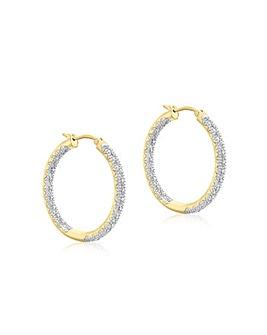 9Ct Gold Diamond Hoop Earrings