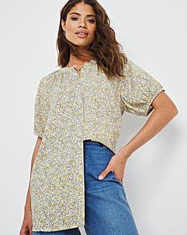 Yellow Ditsy Floral Short Sleeve Viscose Collarless Blouse