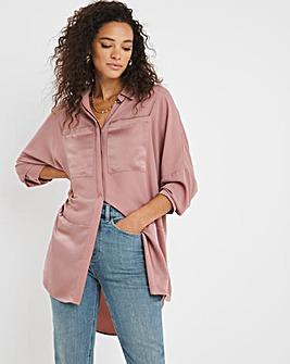Blush Longline Satin Mix Shirt