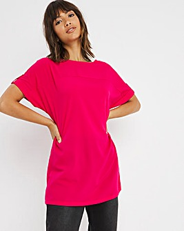 Pink Longline Boxy Top With Front Seam and Tab Sleeve