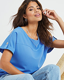 Dusty Blue Longline Boxy Top With Front Seam and Tab Sleeve