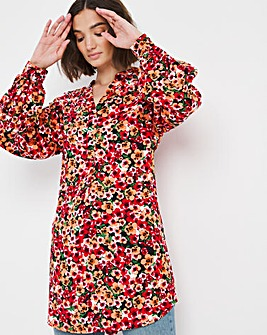 Pink Ditsy Floral Overhead Tunic