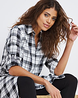 Mono Check Button Up Turn Back Sleeve Shirt