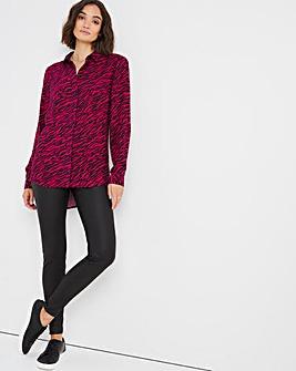 Pink Animal Print Dipped Back Viscose Shirt