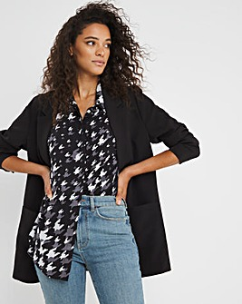 Dogtooth Print Dipped Back Viscose Shirt With Grown On Sleeve