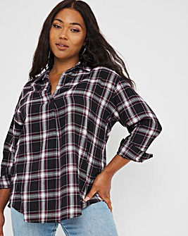 Black and Pink Check Overhead Relaxed Fit Shirt