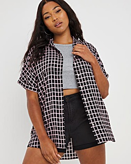 Grid Print Dipped Back Viscose Shirt With Grown On Short Sleeves