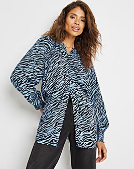 Blue Animal Collarless Viscose Blouse With Shirred Cuffs