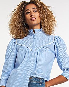 Blue Stripe High Neck Cotton Blouse