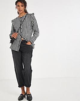 Gingham Button Front Cotton Blouse