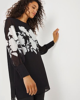 Black Floral Placement Print Long Sleeved Overlay Blouse