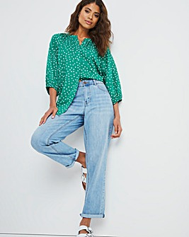 Green Spot Viscose Collarless Blouse with Three Quarter Sleeves