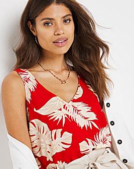 Red Print V-Neck Woven Vest