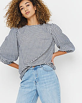 Gingham Puff Sleeve Woven Top