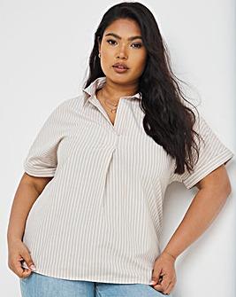 Stone Stripe Short Sleeved Oversized Shirt