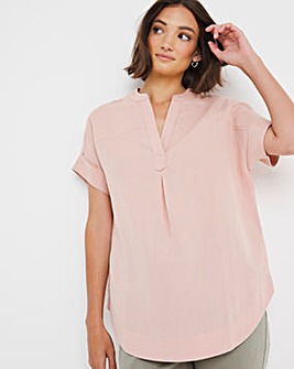 Blush Linen Short Sleeved Blouse