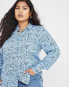 Blue Floral Dipped Back Viscose Shirt