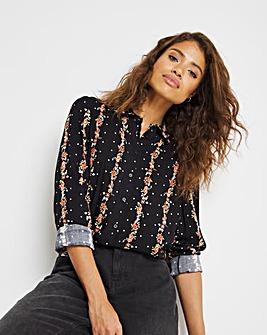 Floral Stripe Collar Detail Viscose Shirt