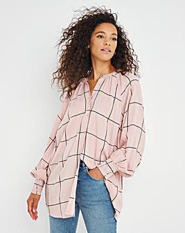 Blush Grid Print Viscose Collarless Blouse With Shirred Cuffs