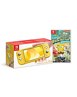 Switch Lite Yellow and Spongebob Game