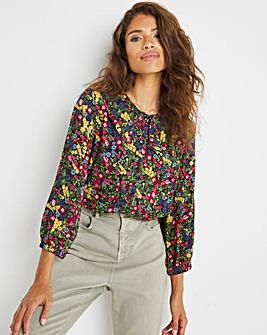 Ditsy Floral Print Statement Collar Shirt