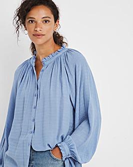 Blue Long Volume Sleeve Textured Top