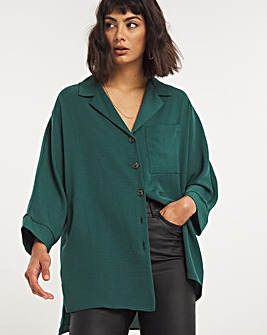 Forest Green Dropped Shoulder Herringbone Twill Shirt