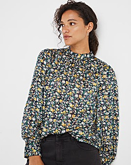 Green Ditsy Floral Lurex High Neck Top