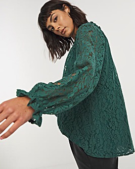 Forest Green Lace Volume Sleeve Top