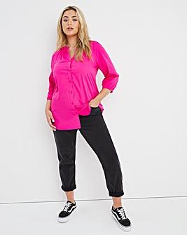 Pink Cotton Poplin Button Front Raglan Sleeve Top
