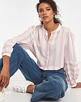 Pink Contrast Stripe Button Front Collarless Blouse
