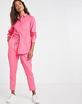 Pink Long Sleeved Linen Shirt