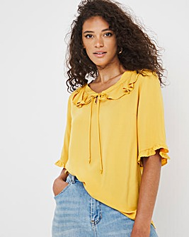 Yellow Frill Detail Short Sleeved Top