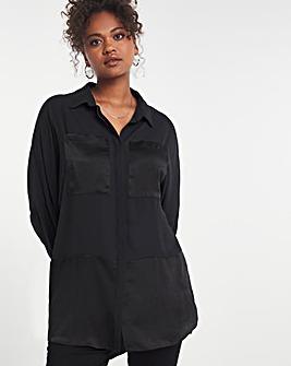 Black Longline Satin Mix Shirt