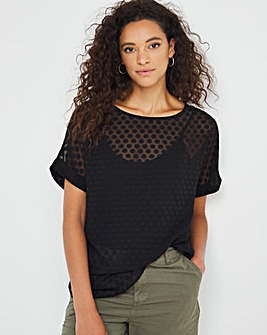 Black Textured Spot Woven Tee With Cami