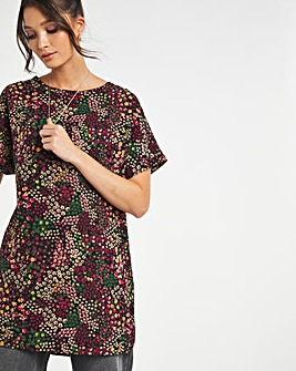Pink Ditsy Floral Print Longline Boxy Top