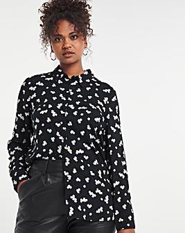 Black Floral Dipped Back Viscose Shirt