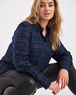 Navy Grid Print Lurex Dipped Back Viscose Shirt