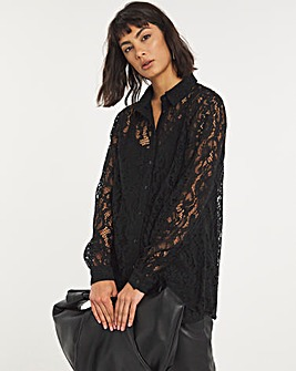 Black Lace Shirt With Cami