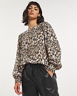 Animal Print Long Sleeved Lurex Shirred Shoulder Top
